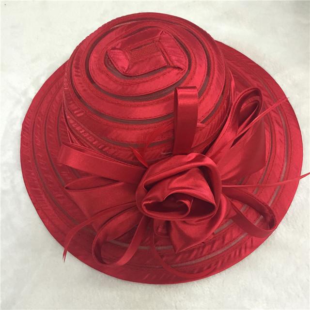 Blanco Gran sol ala del sombrero rojo para las señoras para mujer floral del verano Iglesia kentucky derby Sombreros Para Mujeres Flor sombreros