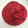 Red white Large brim sun hat for ladies womens floral summer kentucky derby Church Hats For Women Flower hats