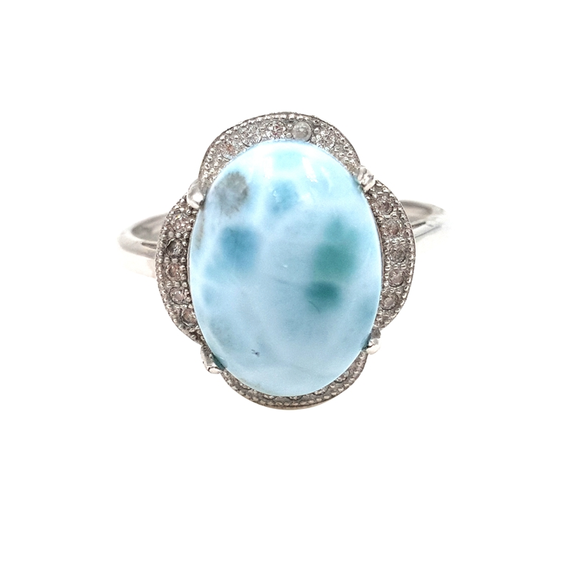LiiJi Unique Natural Caribbean Blue Larimar 925 Sterling Silver Cabochon Shape with Cubic Zircon Ring Resizable for women gift