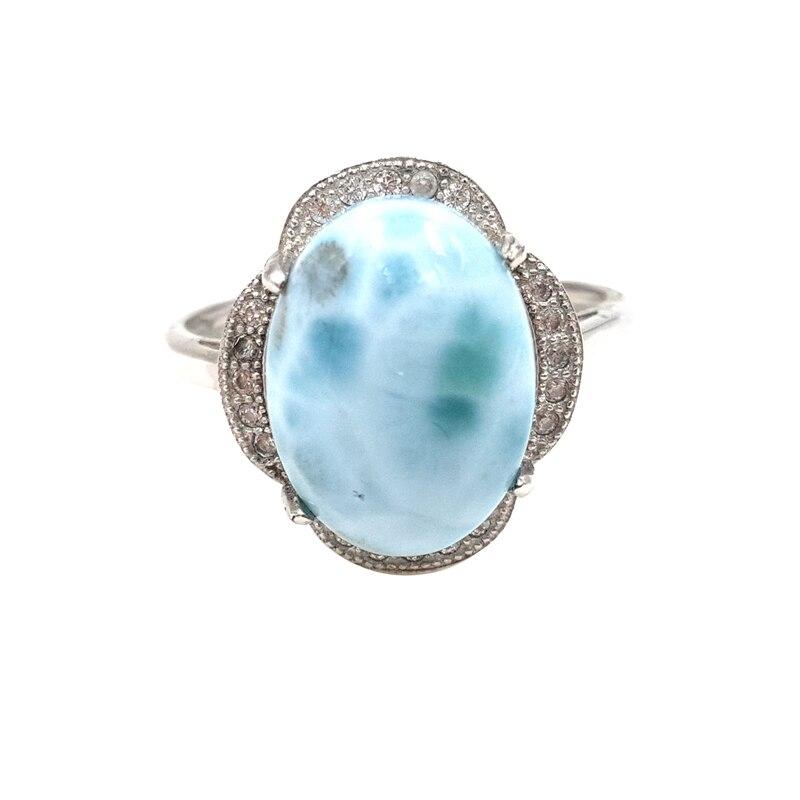 LiiJi Unique naturel caraïbes bleu Larimar 925 argent Sterling Cabochon forme avec cubique Zircon anneau redimensionnable pour les femmes cadeau