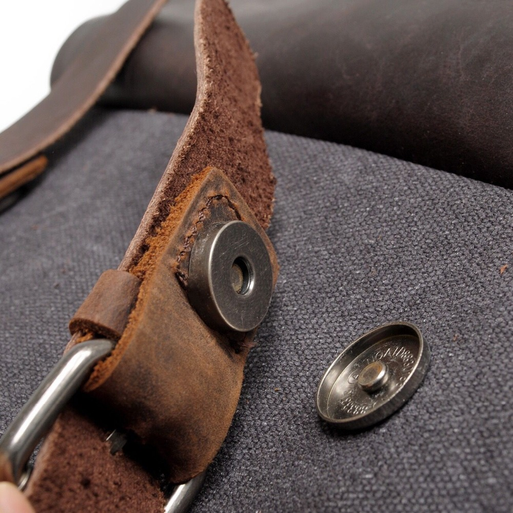 Men Canvas Backpack School Bags Laptop Backpack Male Vintage Military Crazy Horse Leather Shoulder Travel Bag Backpack Schoolbag #4