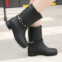 New Rubber Shoes Women Rain Boots For Girls Ladies Walking Waterproof PVC Women Boots Winter Woman Ankle MartinsRainboots