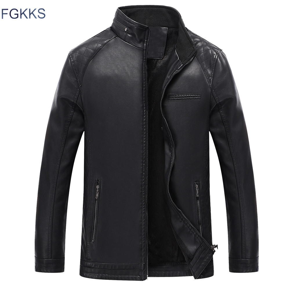 FGKKS New Winter Men's Faux Leather Jacket Washed Fleece Lined Motorcycle Stand Collar Fashion Jacket Casual Coat Male