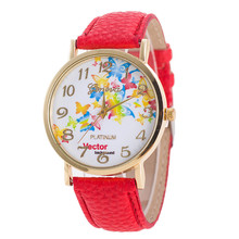 Watch Quartz Montre Femme Women Wrist Watch Fashion Butterfly pattern Leather Bracelet Watches Retro Brand 9 Colors
