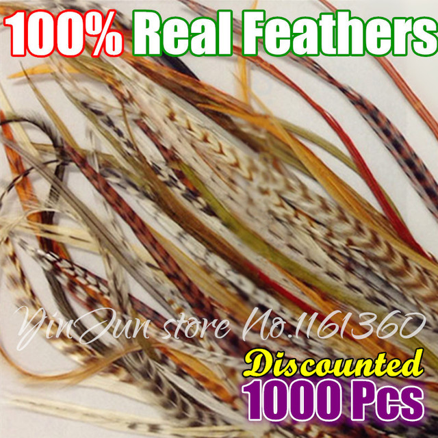 Bulk Pack 1000pcs 6 12inches Grizzly Rooster Feather Hair