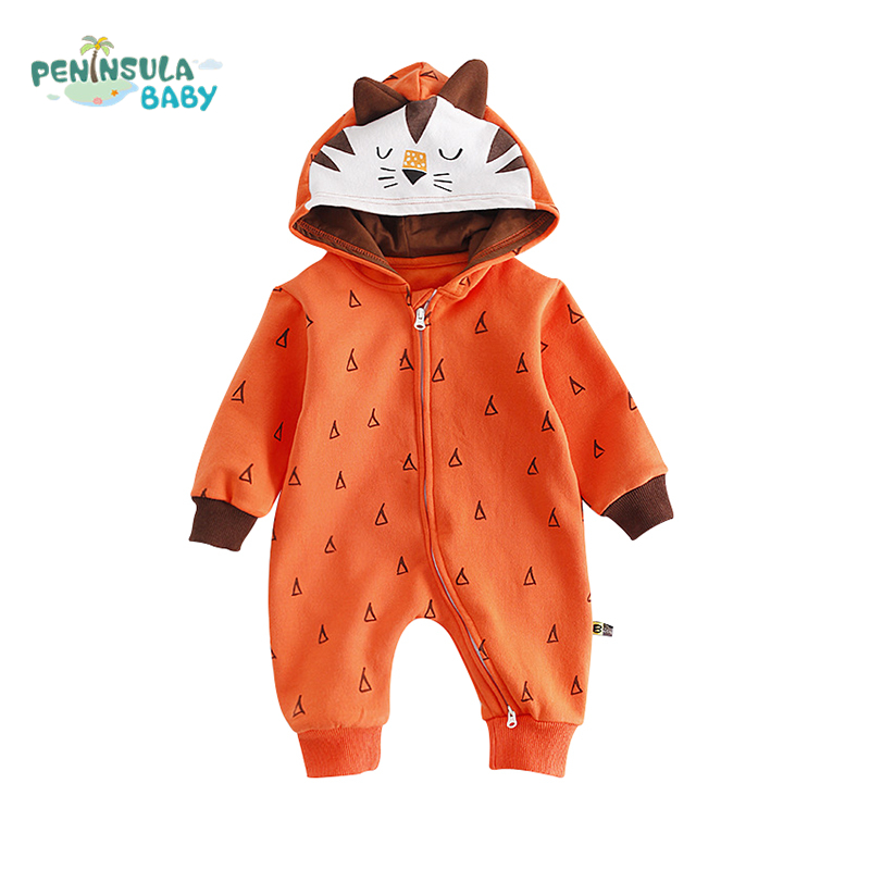 Baby Autumn Cartoon Animal Fox Rompers Infant Hooded Long Sleeves Print Coveralls Newborn Jumpsuit Boy Girl Warm Clothes stylish jewel collar long sleeves backless print jumpsuit for women