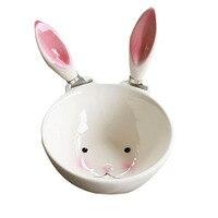 Керамические миски с милым Кроликом  белая миска для кормления детей  подходящая к 2 розовым ушам  11 5х5 5см