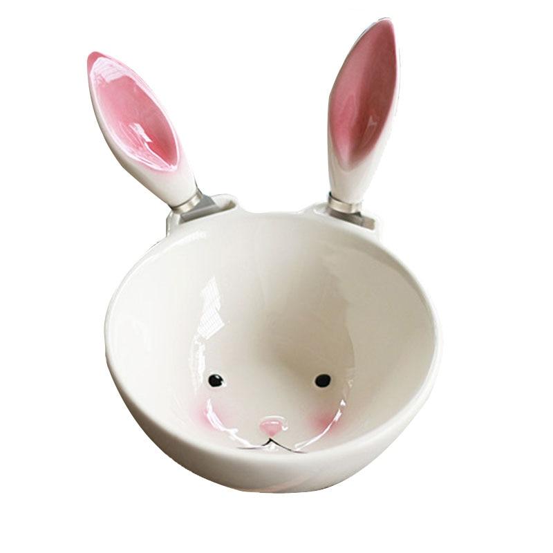 Bowl seramik arnab comel Kanak-kanak makan mangkuk putih Padankan dua telinga merah jambu 11.5X5.5cm