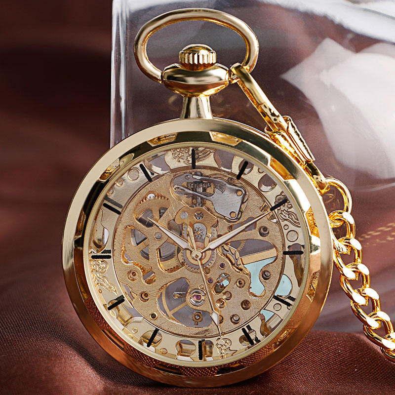 2016 Luxury Gold Skelton Open Face Transparent Mechanical Hand Winding Pocket Fob Watch Vintage Clock For Men Women Xmas Gift automatic mechanical pocket watches vintage transparent skeleton open face design fob watch pocket chain male reloj de bolso