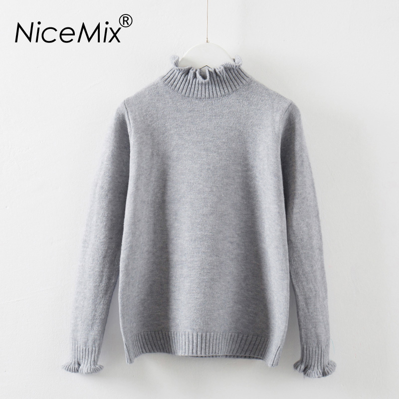 NiceMix 2017 Kawaii Women Sweater Elegant Pullovers Ruffles Turtleneck Knitted Female Autumn Winter Pullover Femme