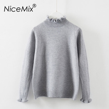 NiceMix 2017 Kawaii Women Sweater Elegant Pullovers Ruffles Turtleneck Knitted Female Autumn Winter Pullover Femme