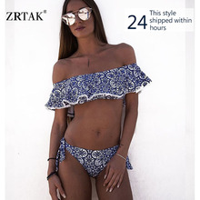 Zrtak Ruffle Bikini Bandeau Print Bandage Swimsuit Women Off Shoulder Swimwear Female  Backless Beachwear  Brazilian Bikini Set