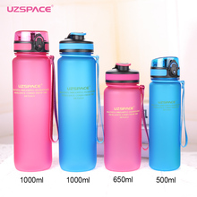 UZSPACE 0%BPA Plastic Sports Water Bottles Portable Travel Outdoor Cycling Drink Fruit protein Shaker My tea bottle 500ml 1000ml