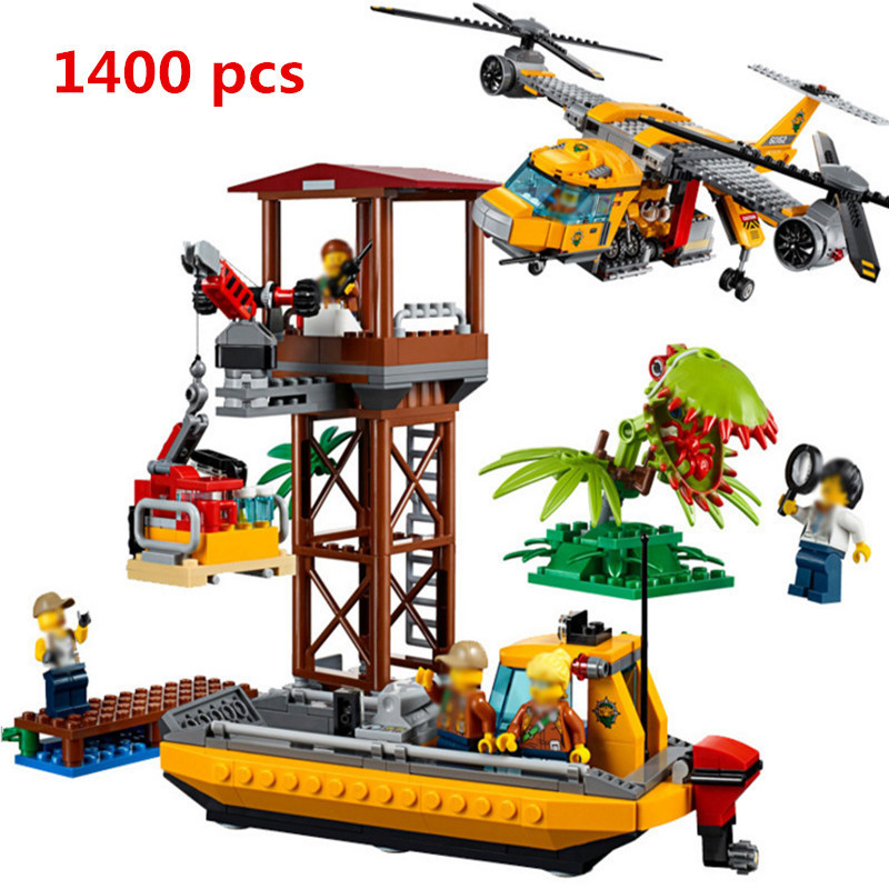 New Lepin 02085 1400Pcs Genuine City Series The Jungle Air Helicopter Set LegoINGlys 60162 Building Blocks Bricks Toys Model lepin 02064 404pcs city series jungle semi track car model building blocks bricks toys for children action figures