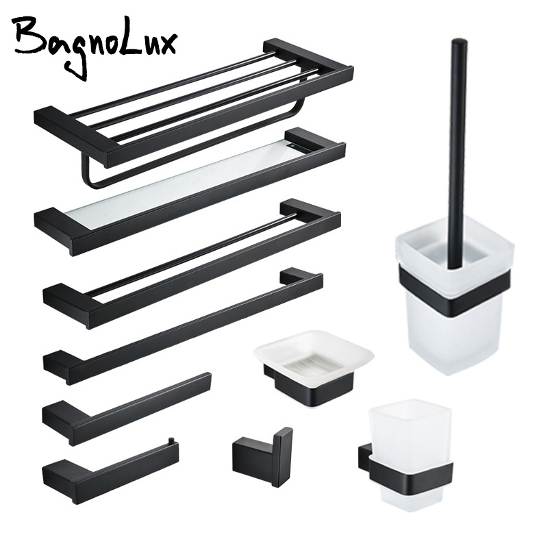 Bathroom Accessories Set Matt Black Finish Wall Toilet Paper Holder Towel Bar Shelf Brush Holders Bath Hardware Set 10 Choice