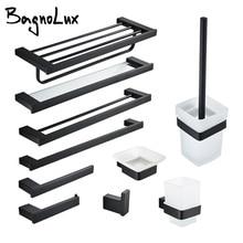 Set de accesorios de baño soporte de papel higiénico de pared acabado negro mate soporte de toallero estante cepillos juego de accesorios para baño 10 opciones