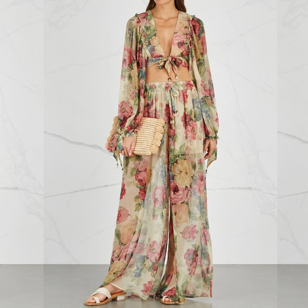 Women painterly blooms melody cropped tie-front floral-print silk-crepon top and melody wide-leg silk trousers set silk