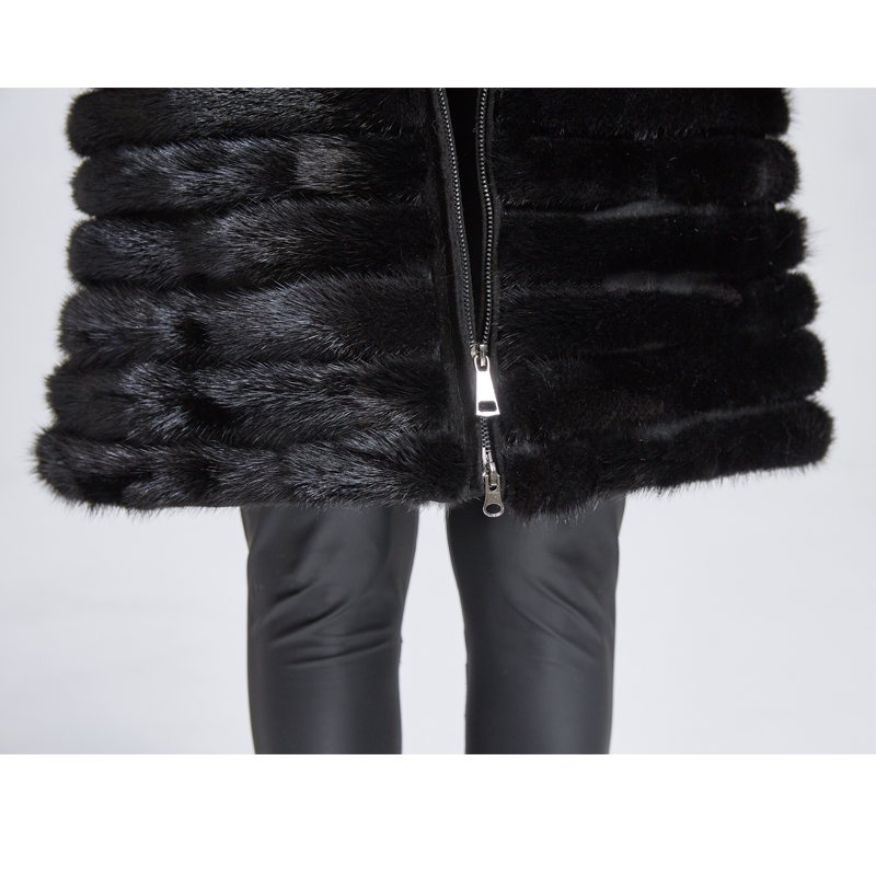 Huanhou queen 2018 real mink fur coat for women with hood extra large plus size winter warm slim coat in Real Fur from Women 39 s Clothing