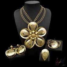 2017 Free Shipping Yulaili Fashion High Quality Big Flower Pendant Pure Gold Color Dubai Jewelry Sets For Ladies