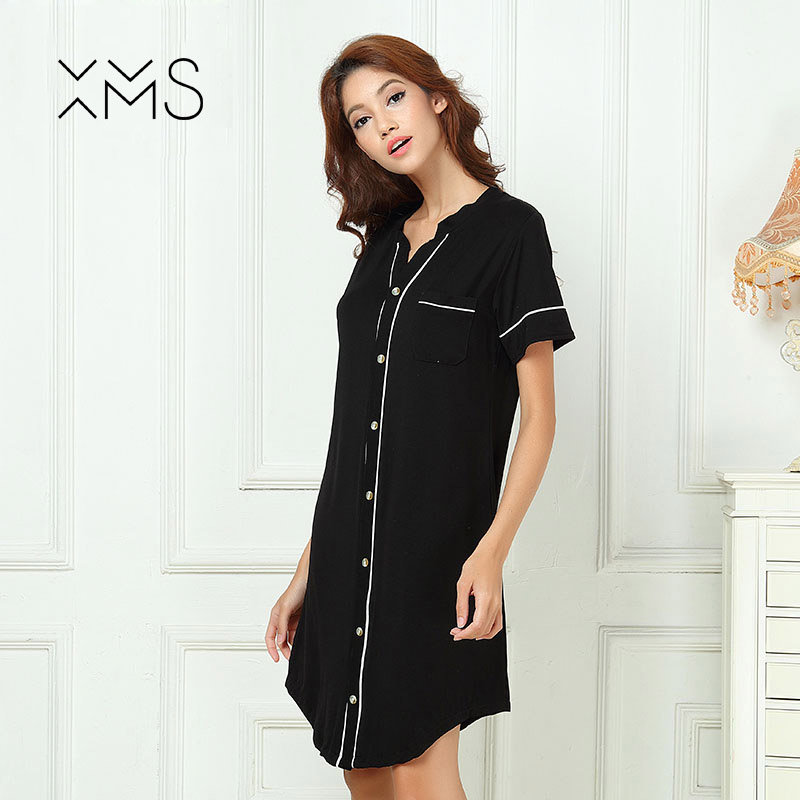 XMS Bamboo Nightgown Soft Home Dress Sexy robe for Women Sleepwear ladys Lounge Vintage Nightdress with buttons summer travel