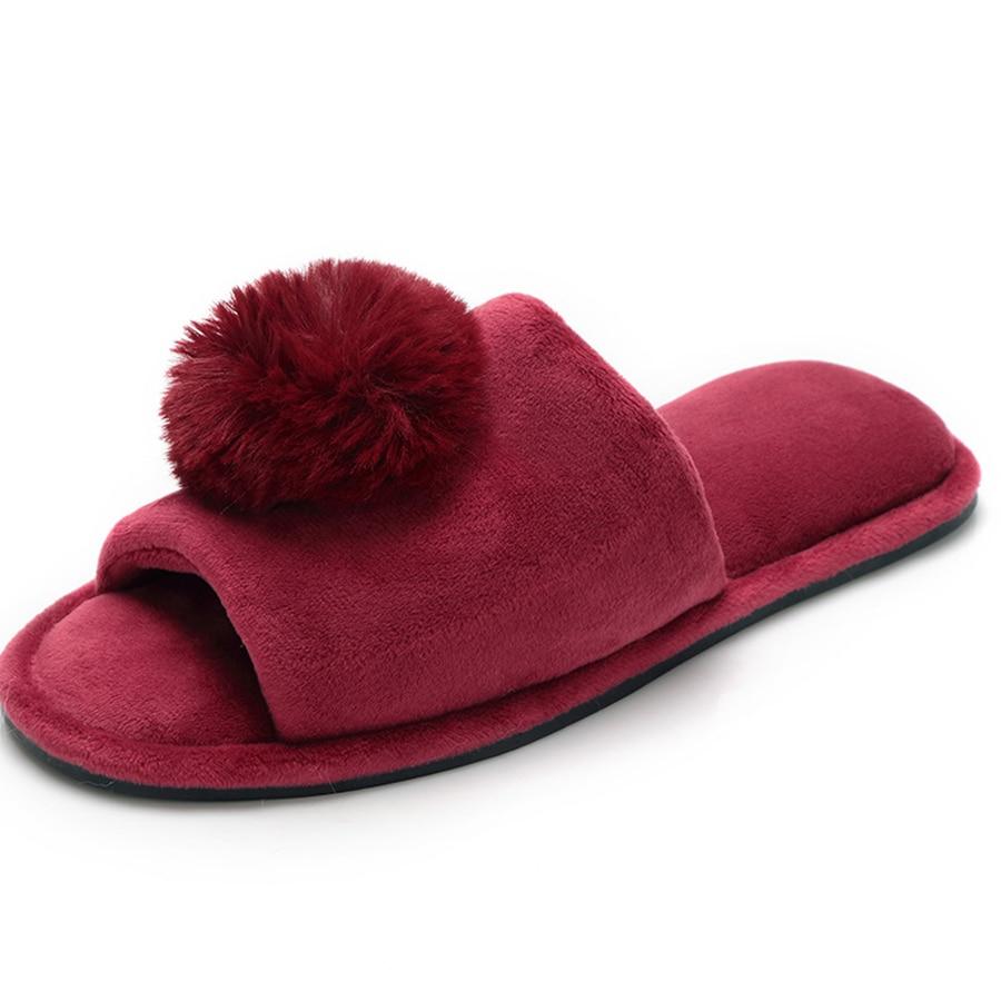 Téli meleg meleg plüss műszőrme szőrme golyó papucs rövid plüss lábbeli otthon beltéri padló cipő