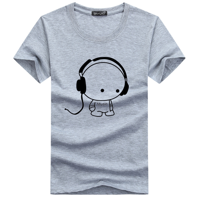 Fashion Headset Cartoon Printed Casual  Cotton Tee Shirt