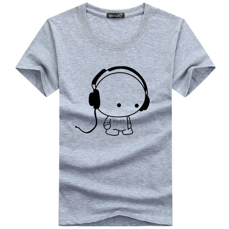 BINYUXD Одежда высшего качества футболки Модная гарнитура мультфильм печатных Повседневное Футболка мужская брендовая футболка хлопковая футболка плюс Размеры 5XL
