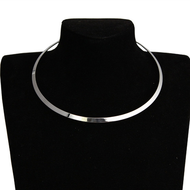 European and American Circle Bright Metal Collar Punk Women Choker Necklace Fash