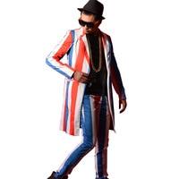 Color Stripe Men Long Casual Suit Jacket Male Fashion Slim Fit Blazers Coat Singer Super Star