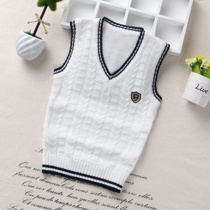 School Uniform Vest Boys Knitted Sweater Coat For Girls Clothes Baby Soft Cotton Jacket Vest Warm Outwear Infant Autumn&Winter