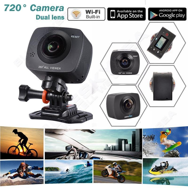 Free shipping Dual lens 360 220 Degree WiFi Panoramic Sports Action font b VR b font
