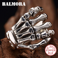 BALMORA 100% Real 925 Sterling Silver Hand & Skull Rings for Men Vintage Ring Party Gifts Male Punk Fashion Jewelry SY20226