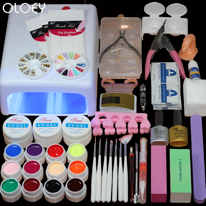 2017 Home Use nail kit 12 color uv gel polish 36w timer uv lamp manicure uv gel nail art diy nail tools sets kits nail gel kit nail art manicure tools set uv lamp 10 bottle soak off gel nail base gel top coat polish nail art manicure sets