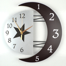 Modern Living Room Decorative Creative Wall Clock Star Moon Style Wooden Density Board Wall Clock Scan