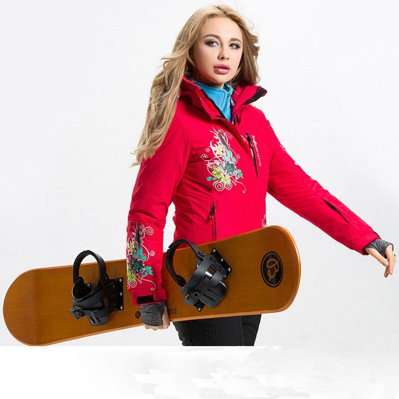 Prix pour Femme de Ski Veste de snowboard En Plein Air Manteau Femmes étanche Épaississent Coupe-Vent Grâce Haut de gamme Hiver Neige Dame À Capuche Sportwear