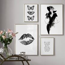 Fashion Girl Butterfly Black Lips Quotes Wall Art Canvas Painting Nordic Posters And Prints Pictures For Living Room Decor