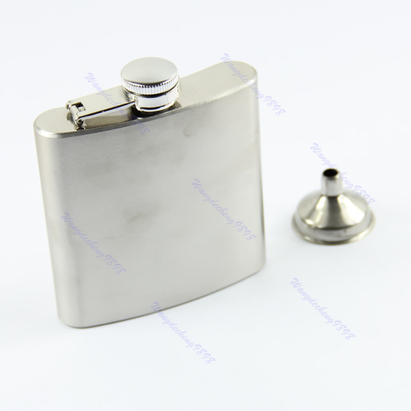 E74 Hot Sell 2pcs/lot Stainless Steel 6oz Jack Daniels Liquor Alcohol Party Drink Hip Flask + Funnel
