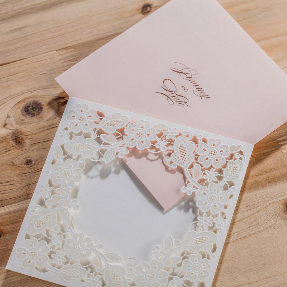 WISHMADE Laserski rez vjenčanja pozivnice kartice Elegantno Cvijeće - Za blagdane i zabave - Foto 3