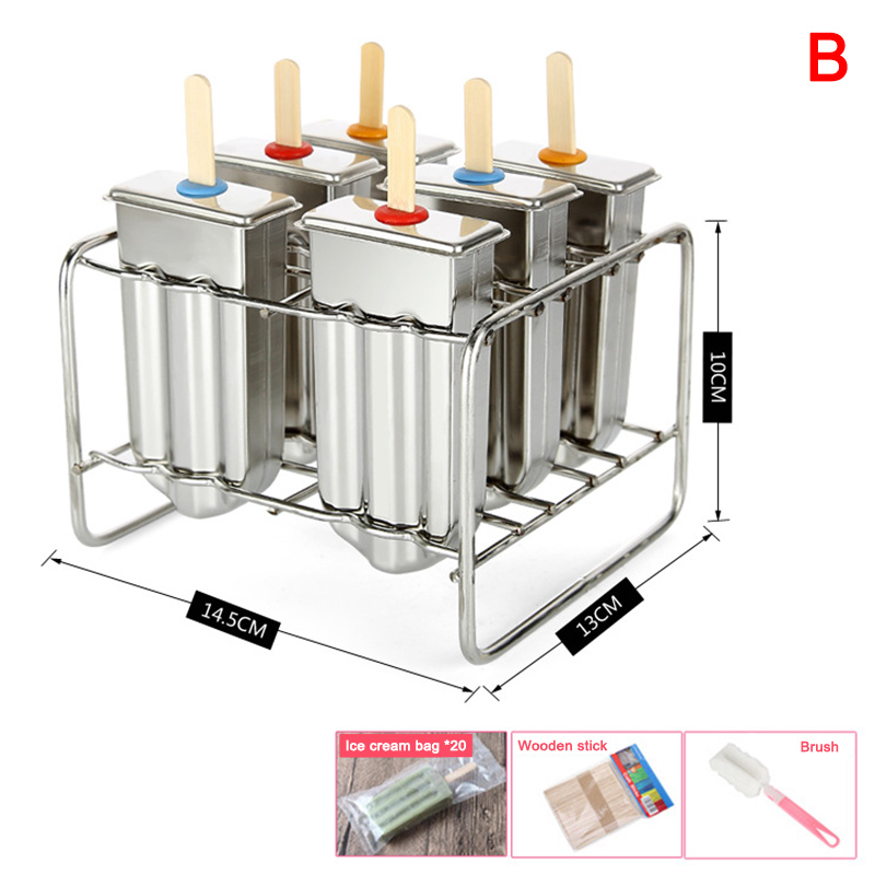 Newly Stainless Steel DIY Ice Lolly Stick Maker Mold Ice Cream Moulds Reusable Tool TE889