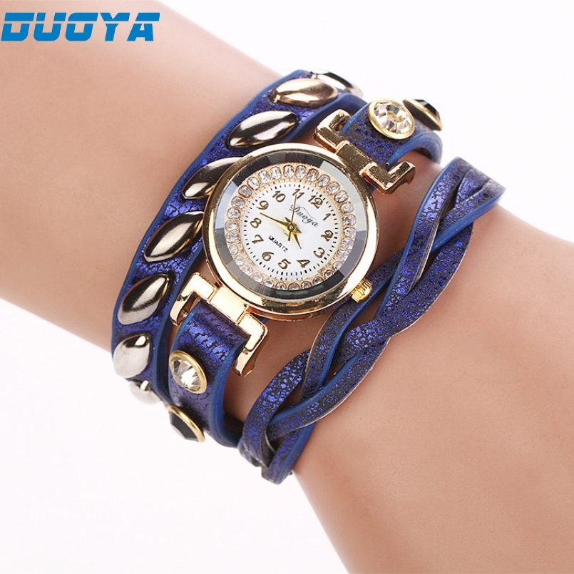 Duoya Brand Fashion Luxury Rhinestone Bracelet Watch Ladies Quartz Watch Casual Women Wristwatch Relogio Feminino 02