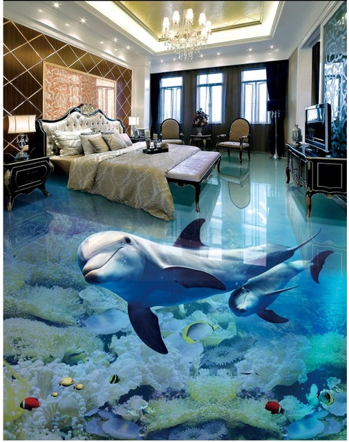 3d pvc bodenbelag benutzerdefinierte wand selbstklebende wasserdichte boden meer dolphin mutter. Black Bedroom Furniture Sets. Home Design Ideas