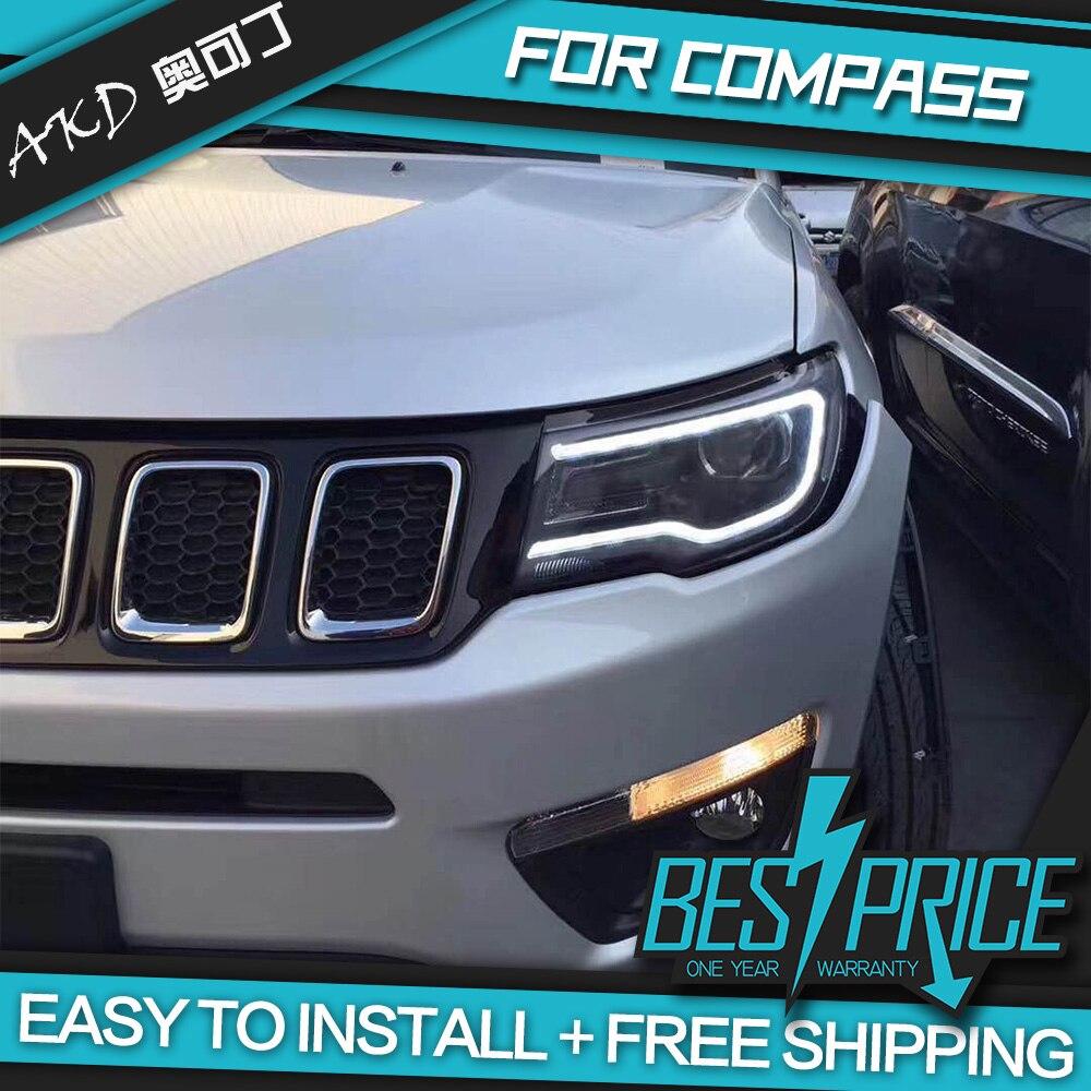 AKD Cars Styling Headlight For Jeep Compass 2017 2018 Headlights LED Running lights Bi Xenon Beam