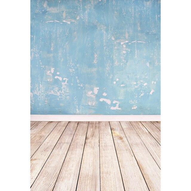 Виниловые синие стены Дети Фото фоны деревянный пол новорожденный реквизит мальчик дети девочки фотостудия фон