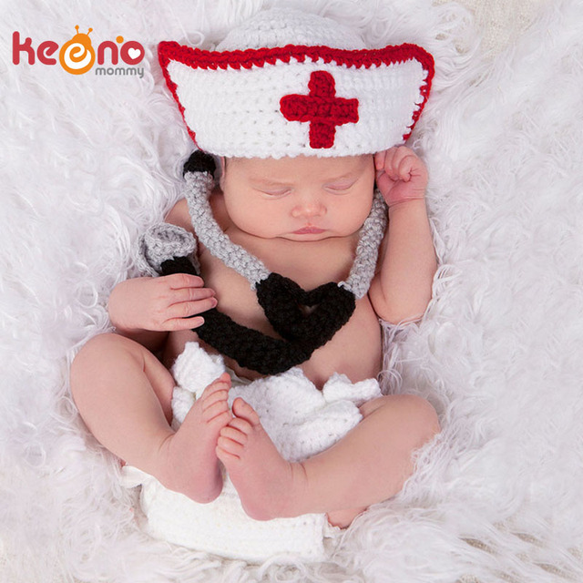Keenomommy Crochet Baby Boy Girl Doctor Nurse Photography Props Knitted Newborn  Photo Costume Baby Shower Gift H298 d3b6968cf3c2