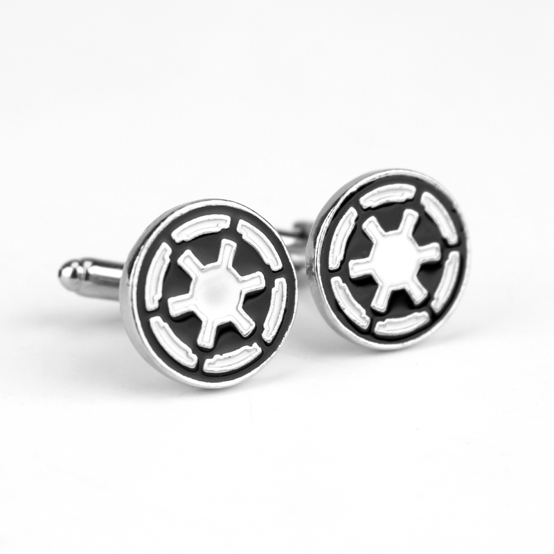 Wholesale Classic Game Star Wars Brooch Galactic Empire Logo Enamel Brand Cuff Buttons For T-Shirt Wedding Party Cuff Links