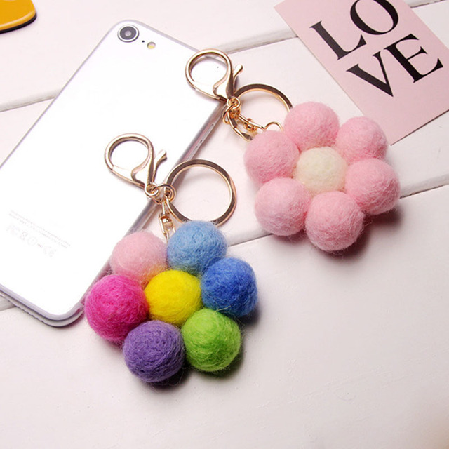 New Fashion High Cute Candy Balls Car Keychain Plush Key Chain Creative Small Birthday Gifts Key Ring Holder Bag Pendant B-KC06