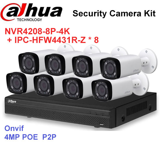 Dahua NVR Security CCTV Camera Kit NVR4208-8P-4K Motorized Zoom Camera IPC-HFW4431R-Z P2P Surveillance System Easy install