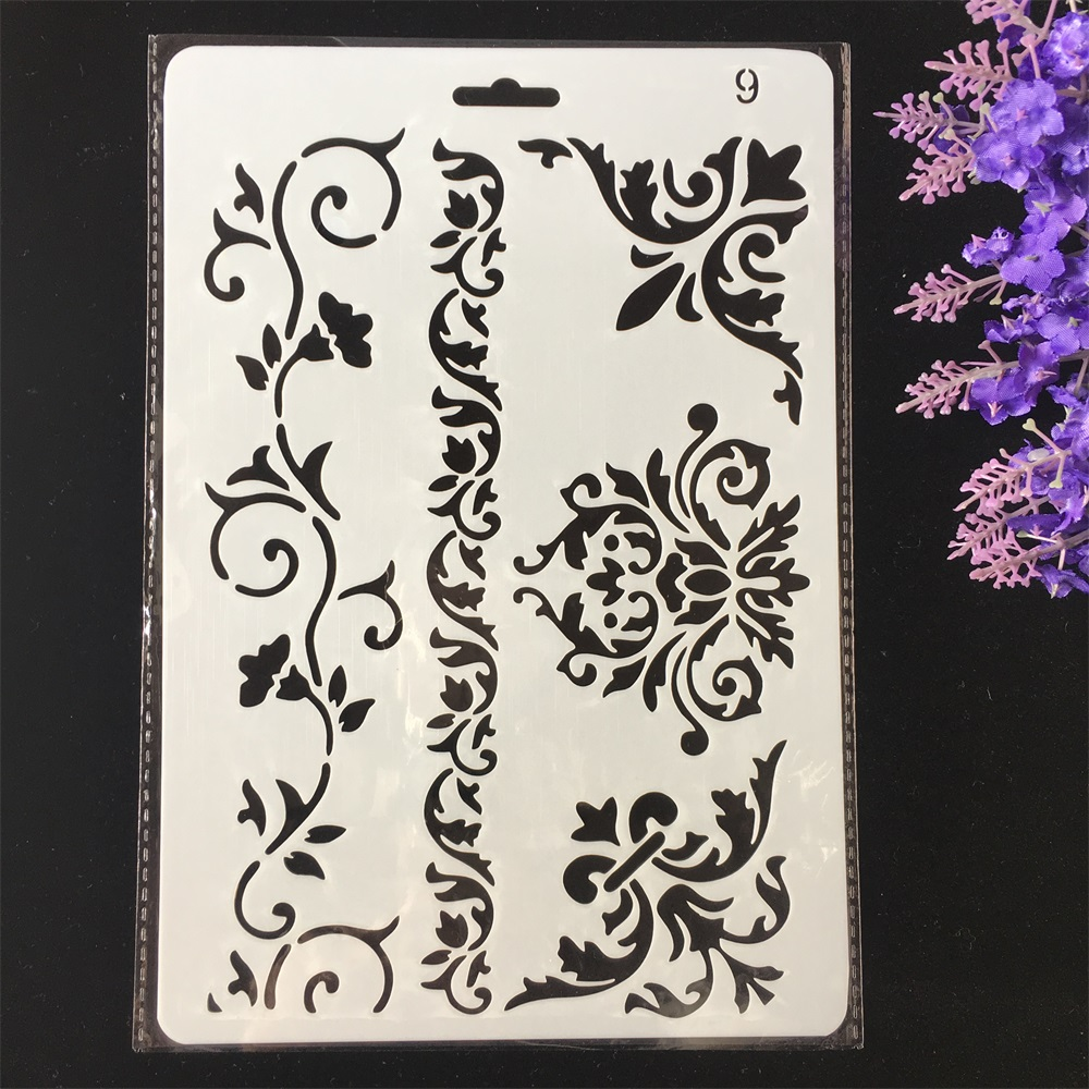 Hot 26cm Floral Frame Edge DIY Craft Layering Stencils Painting Scrapbooking Stamping Embossing Album Paper Card Template