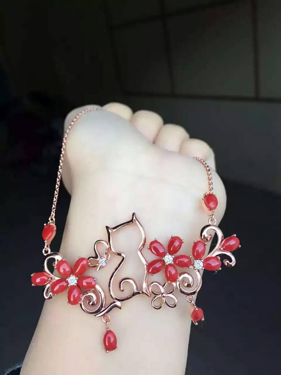 Collar de coral precioso rojo Natural colgante de piedras preciosas naturales Collar de plata S925 elegante jardín gato mujer joyería - 3