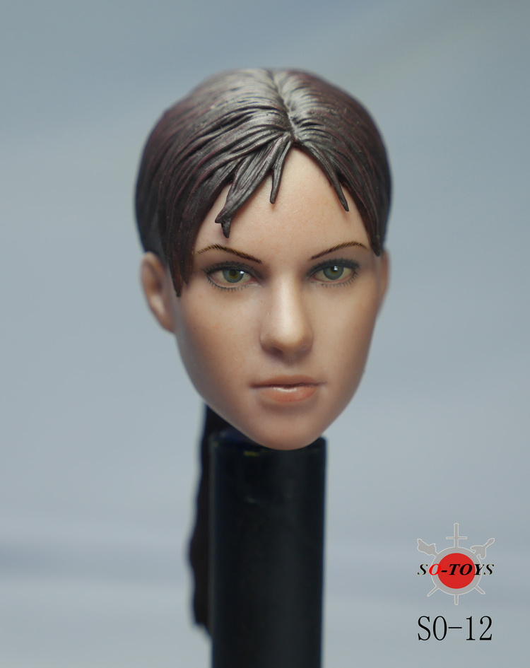 1/6 scale figure doll female head shape for 12Action figure doll accessories Resident Evil Jill head carved,16B2633 1 6 scale resident evil 6 leon scott kennedy full set action figure for collections